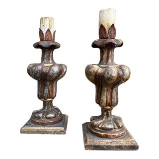 20th Century 1930s Wooden Pine Cone Candlesticks - a Pair For Sale