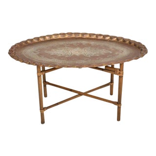 Anglo Indian Coffee Table Brass & Bamboo For Sale