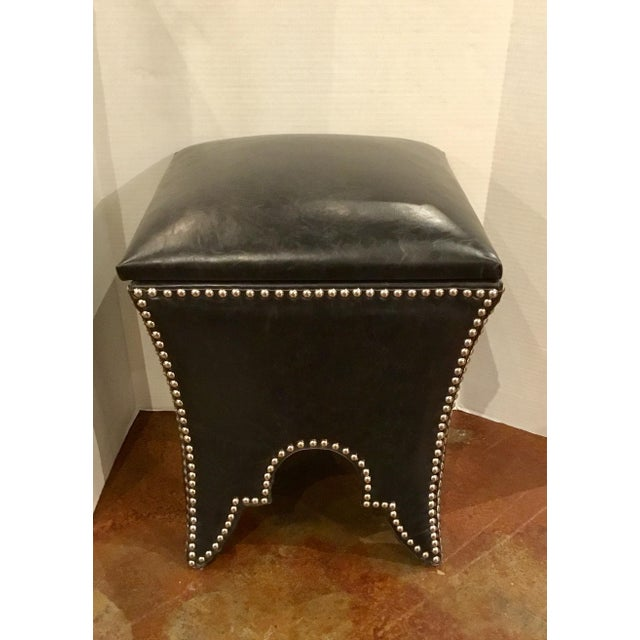 Black Leather Empire Storage Stool For Sale In Atlanta - Image 6 of 6