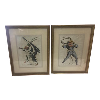 Hand Painted Watercolor Commedia Dell'arte Characters a Pair For Sale