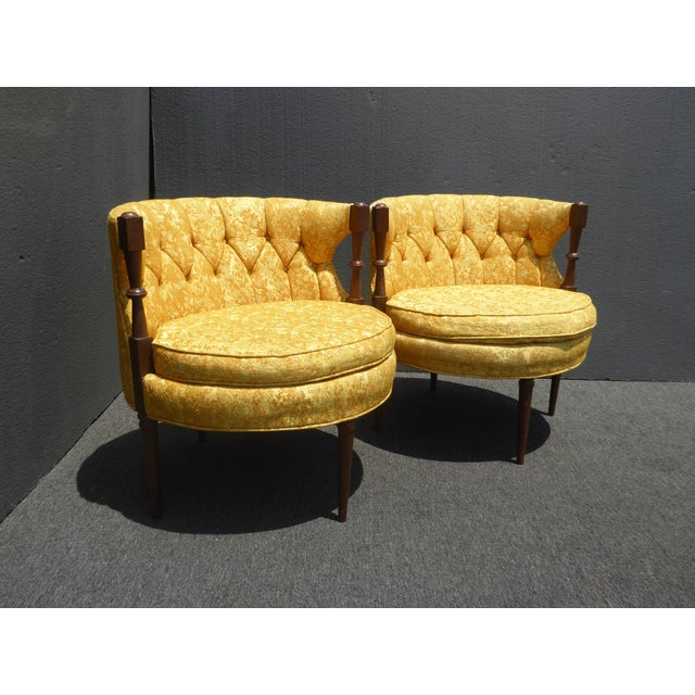 1960s Vintage Stacey House Atomic Era Gold Club Chairs - a Pair Mid Century Modern For Sale - Image 4 of 13