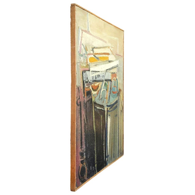 An abstract painting of books (livres), oil on wood in canvas by Daniel Clesse, painted in France, signed and dated in...