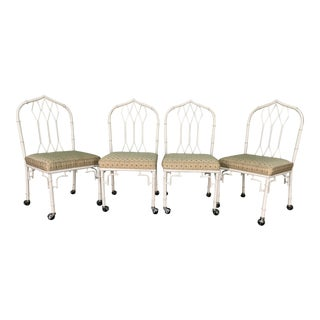 Metal Cathedral Style Fretwork Dining Chairs, Set of 4 For Sale
