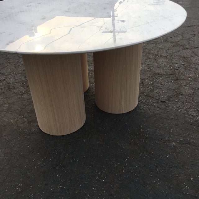 White Oversized Pillar Marble Dining Table in White Oak For Sale - Image 8 of 13