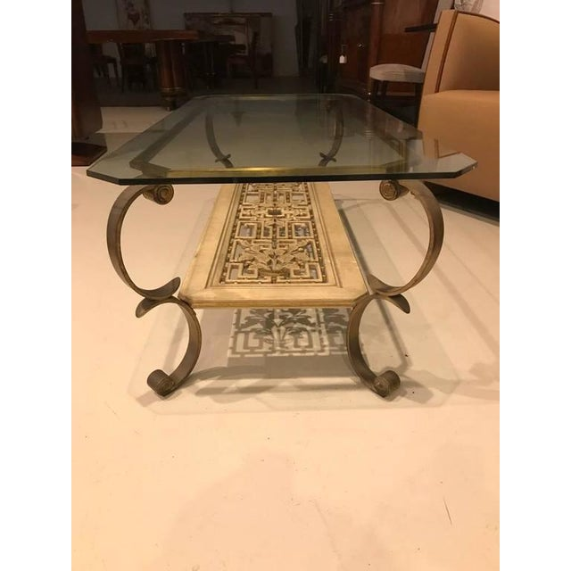 Mid-Century Modern Mid-Century Brass and Giltwood Coffee Table For Sale - Image 3 of 9