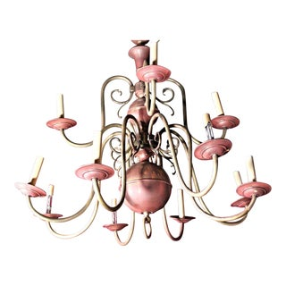 12-Arm Antique Dutch Baroque Style Copper Brass Chandelier Fixture Lamp Lighting For Sale