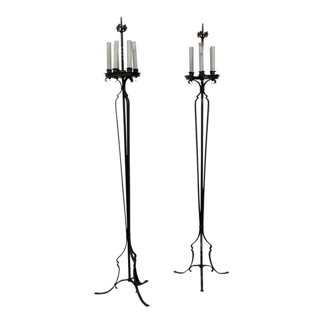 Pair of Antique Wrought Iron Floor Lamps For Sale