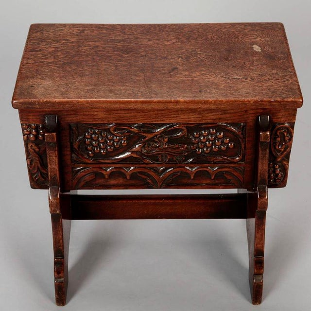 French Hand Carved Oak Stool with Grapes - Image 7 of 9