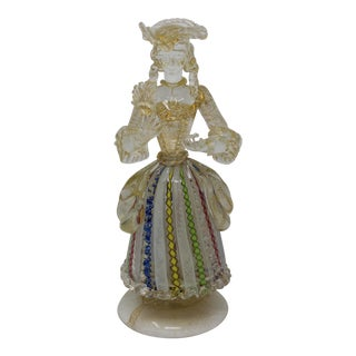 Vintage Filligrana Murano Glass Lady For Sale