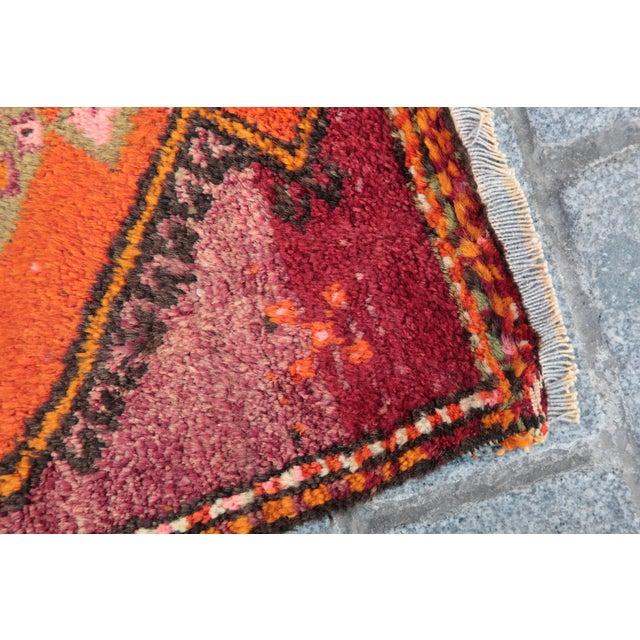 Vintage Turkish Orange Tone Wool Carpet - 3' 8'' X 1' 8'' - Image 7 of 11