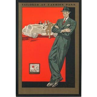 """Tailored at Fashion Park"" C1930s Menswear Advert Cardboard Sign For Sale"