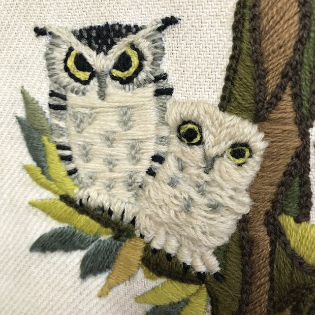 Mid-Century Embroidered Owl Artwork - Image 6 of 8