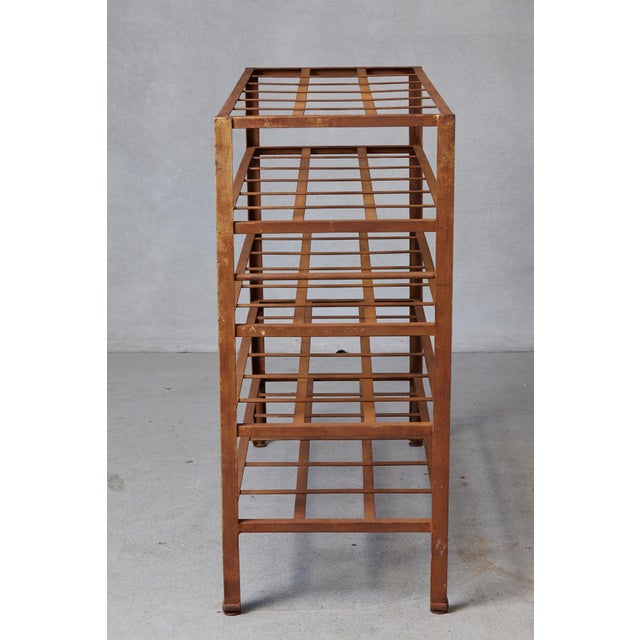 1960s Industrial 5 Tier Shelf With Grid Shelves for Books or Usage as Seedling Planter For Sale - Image 5 of 11