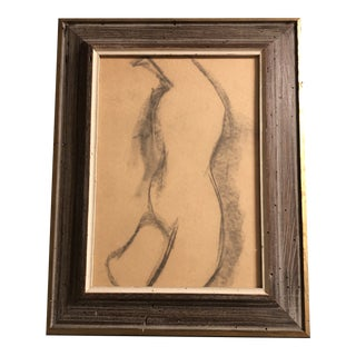 Original Vintage Mid Century Abstract Nude Charcoal Study Drawing Modernist Worm Wood Frame 1950's For Sale