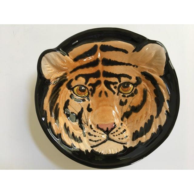 Orange Vintage Mid-Century Italian Pottery Tiger Bowl For Sale - Image 8 of 9
