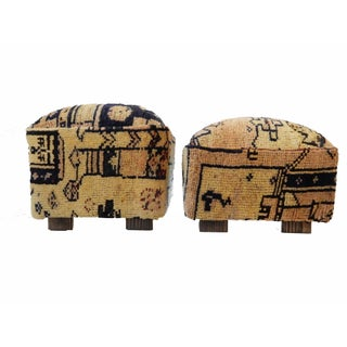 Tribal Herat Rug Ottomans- A Pair For Sale