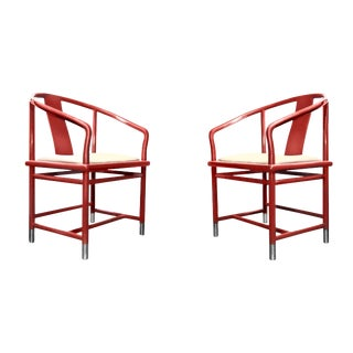 Brueton Red Ming Chairs - A Pair
