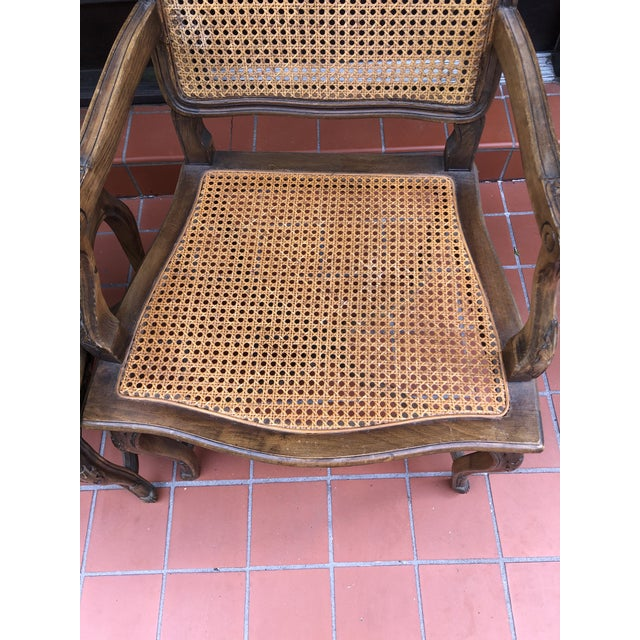 Brown French Caned Chairs - a Pair For Sale - Image 8 of 12