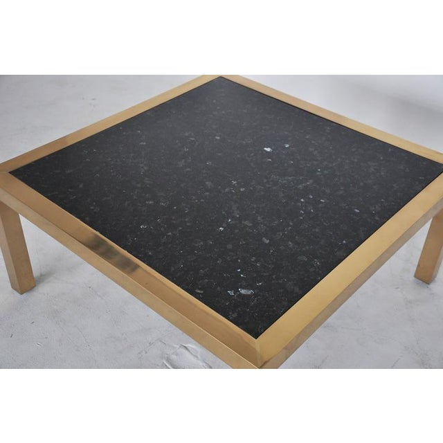 Brass and Stone Coffee Table, circa 1970 For Sale - Image 4 of 5