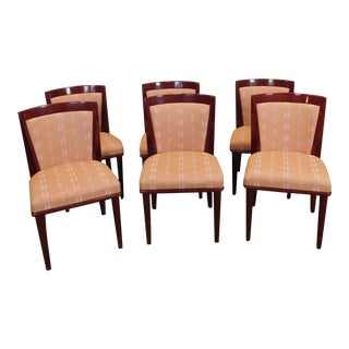 1980s Contemporary Lacquered Upholstered Chairs - Set of 6