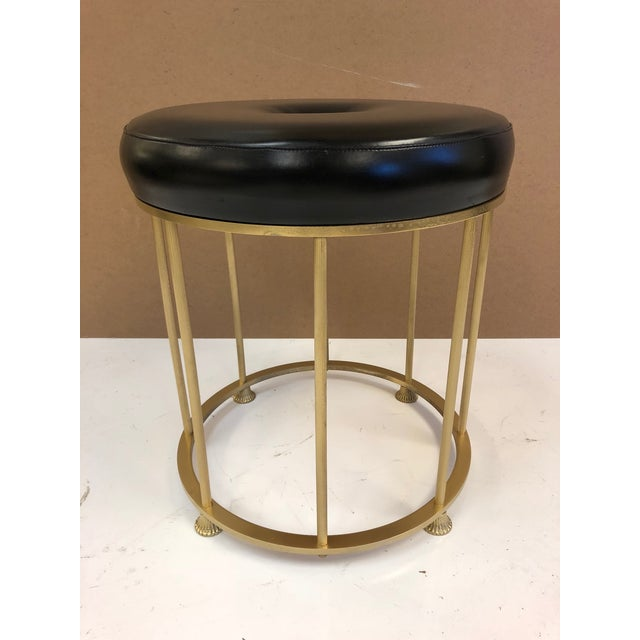 1950s 1950s French Bronze and Steel Stool Attributed to Maison Jansen For Sale - Image 5 of 5