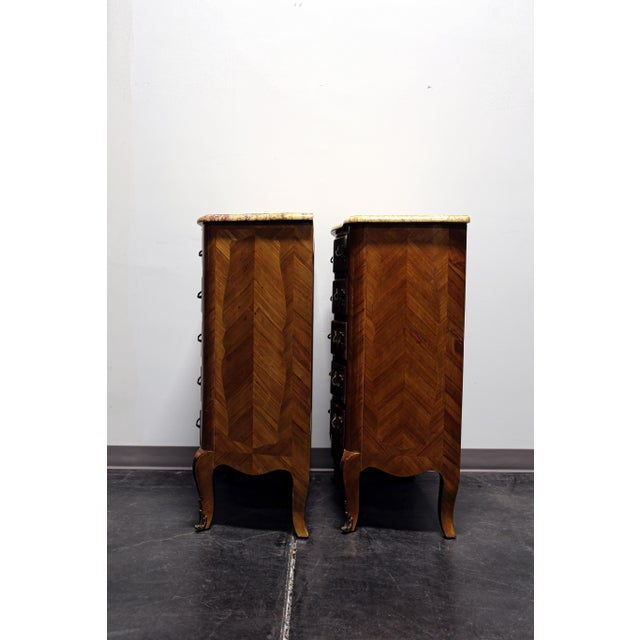 French Louis XV Style Inlaid Kingwood Marble Top Lingerie Chests - Pair For Sale - Image 10 of 13
