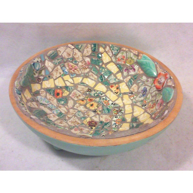 Hand Crafted Mosaic Footed Oval Bowl - Image 2 of 7