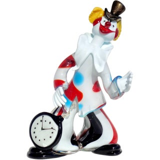 Murano Dandy Clown With Pocket Watch, Top Hat, Italian Art Glass Sculpture For Sale