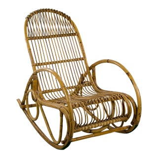 1960s Vintage Franco Albini Bamboo Rocking Chair For Sale