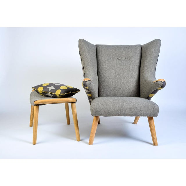 Mid-Century Modern Wegner Arm Chair & Ottoman For Sale In Seattle - Image 6 of 10