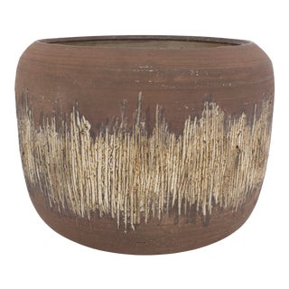 Mid-Century Brutalist Pottery Cachepot For Sale