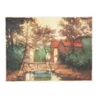 French Village & Bridge Aquatint Etching For Sale