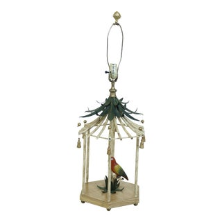 Metal Toleware Paint Decorated Parakeet Island Lamp For Sale
