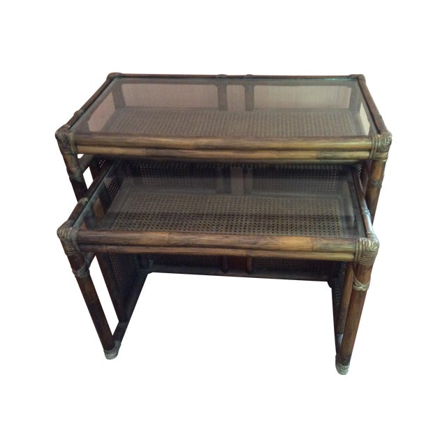 McGuire Bamboo Cane & Glass Stacking Tables - Pair - Image 1 of 7