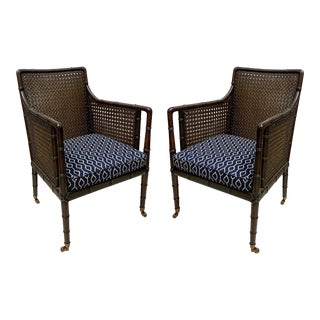 Pair of English Faux Bamboo Caned Club Chairs For Sale