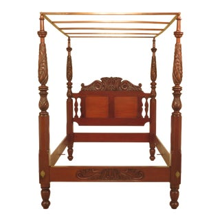 Leonards Bench Made Carved Queen Mahogany Canopy Bed For Sale