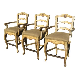 Vintage French Country Style Ladder Back Bar Stools - Set of 3