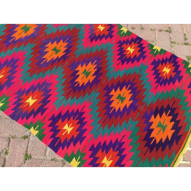 Hot Pink Turkish Kilim Rug For Sale - Image 4 of 10
