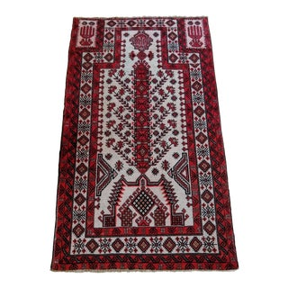 Late 20th Century Hand-Knotted Persian Hamadan Prayer Rug - 4′2″ × 6′12″ For Sale