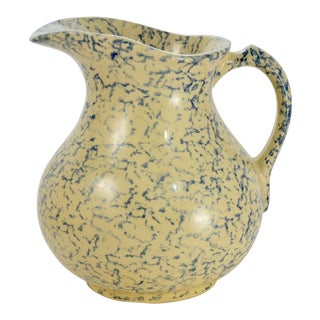 "Blue Sponge Glaze 9"" Yellow Clay Pottery Pitcher For Sale"