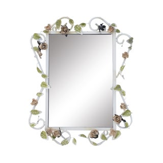 "Italian Tole Mirror With Pale Pink Roses, 19"" X 24"" For Sale"