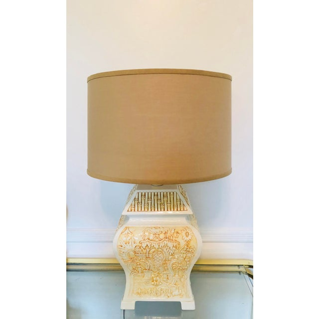 Italian Porcelain Pagoda Table Lamp With Shade For Sale - Image 9 of 9