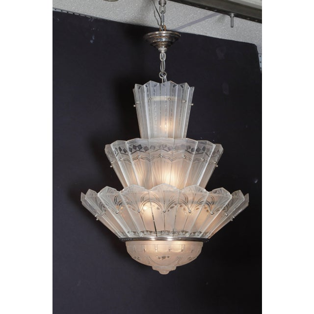 Rare Original French Art Deco Tiered Sabino Chandelier For Sale - Image 11 of 12