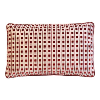 """Scalamandré Red Cut Velvet Pitti Feather/Down Pillow 22"""" X 17"""" For Sale"""