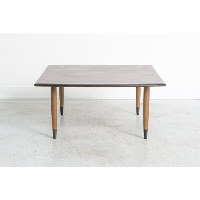 "table by DUX Sweden, c 1960s teak 15 ½"" h x 32"" w x 32"" d legs are detachable"