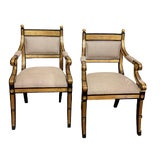 Image of Early 20th Century Ebonized and Parcel Gilt Arm Chairs- A Pair For Sale