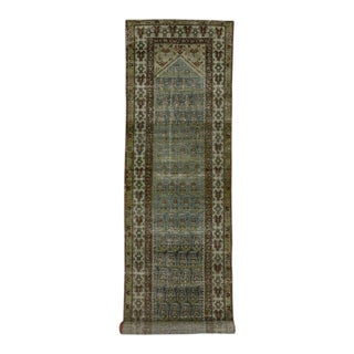 Distressed Antique Persian Malayer Carpet Runner with Modern Industrial Style For Sale