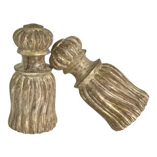 Hollywood Regency Elsie De Wolf Style Carved Wood Table Tassels - A Pair For Sale