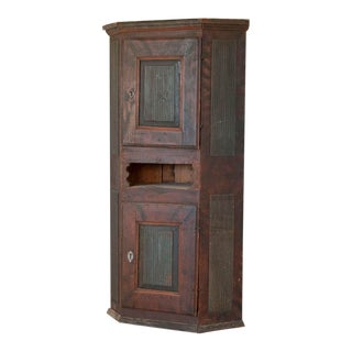 Antique Swedish Painted Corner Cabinet Cupboard For Sale