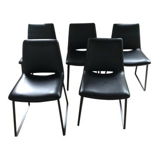Modern Hd Butter Cup Black Leather Chairs- Set of 5 For Sale